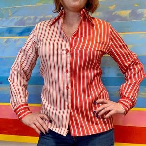 Vintage Red Striped Harley Quinn Blouse Size 10